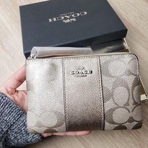 COACH Metallic Signature Wristlet Wallet BNIB